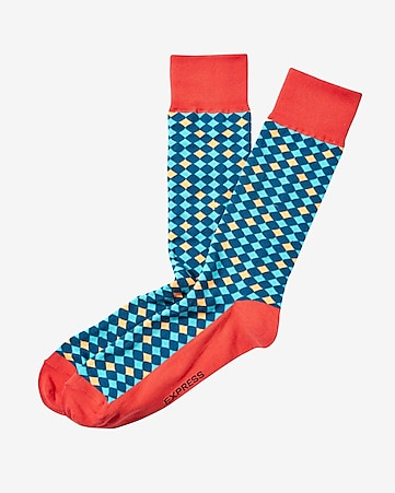micro diamond print dress socks