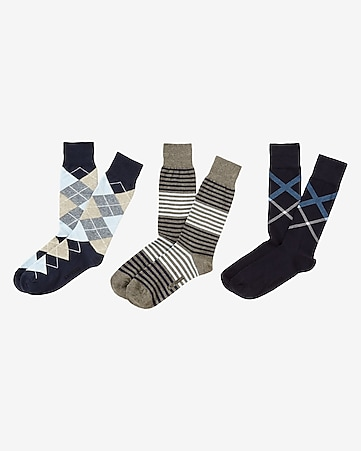 argyle striped dress socks 3-PACK