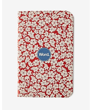 word notebook red floral 3-PACK