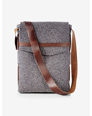 Express Mens Robert Mason Merino Wool And Leather Satchel