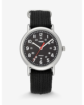 Express Mens Timex Weekender Black And Silver Watch