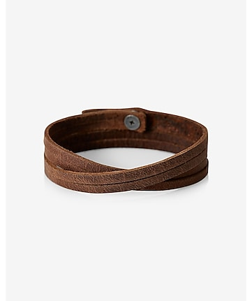 robert mason skinny split leather wristband