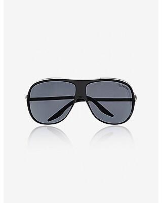 Express Mens Metal Accent Shield Sunglasses