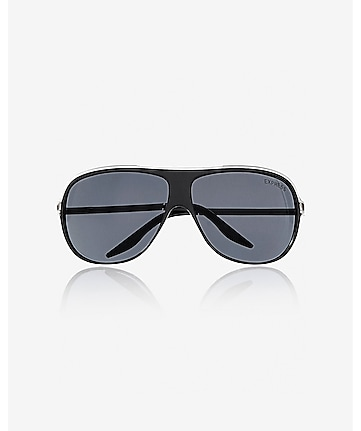 metal accent shield sunglasses