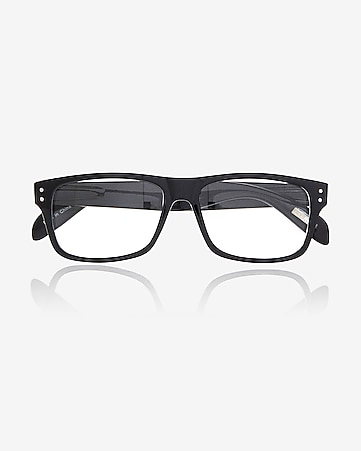 clear lens double stud square glasses