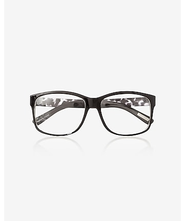 printed frame clear lens glasses