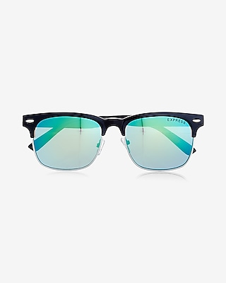 Express Mens Aqua Lens Browline Sunglasses