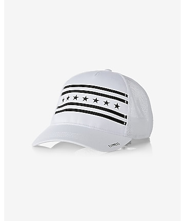 white stars and stripes trucker hat