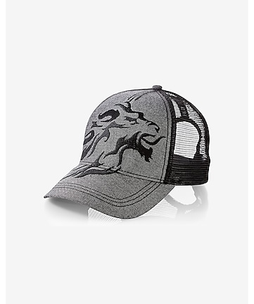 gray cotton exploded lion trucker hat