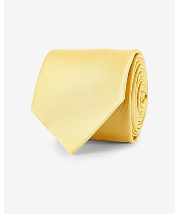yellow narrow solid color silk tie