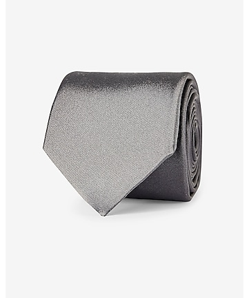 gray narrow solid color silk tie