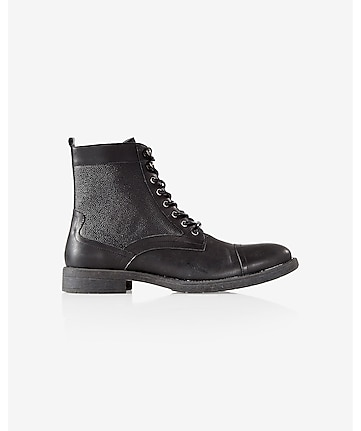 black leather textured top boot