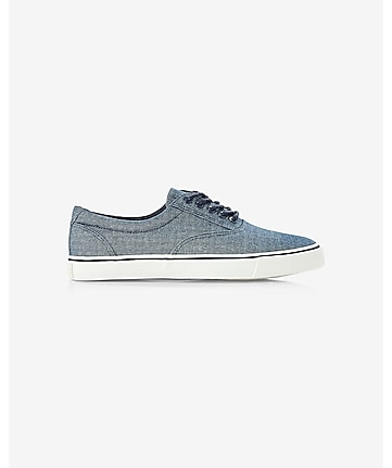 blue chambray laceless slip-on sneaker