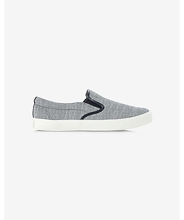 blue chambray slip-on sneakers