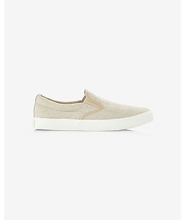 khaki chambray slip-on sneakers