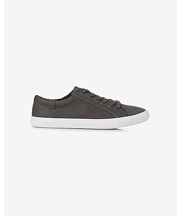 gray perforated low top lace-up sneaker