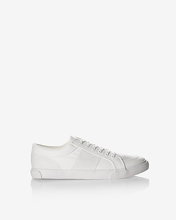 perforated lace-up low top sneaker