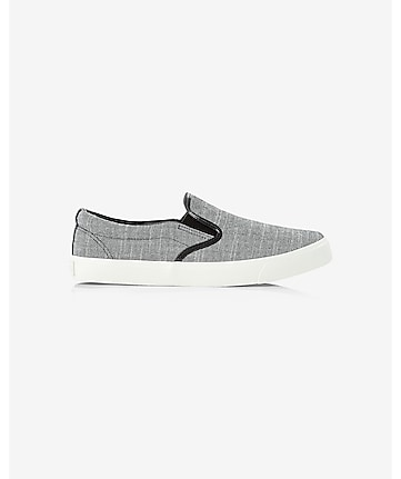 black chambray slip-on sneakers