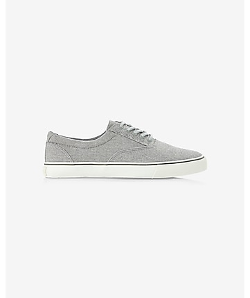 gray chambray laceless slip-on sneaker