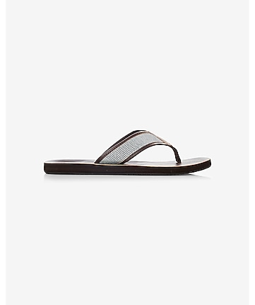 striped thong brown flip flop