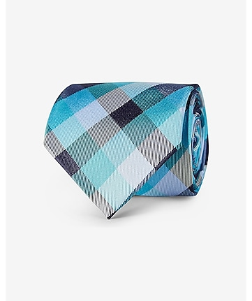 checked narrow silk tie