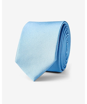 french blue skinny silk tie - solid