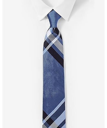 narrow silk tie - plaid cobalt blue