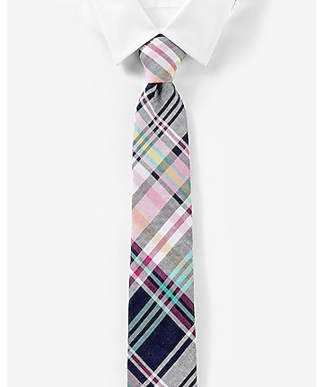 narrow linen-cotton tie - plaid
