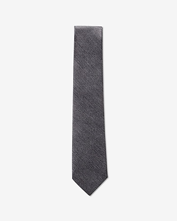 narrow silk tie - textured solid