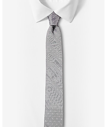 narrow outlined polka dot silk tie