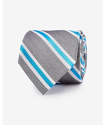 narrow diagonal stripe silk blend tie - turquoise
