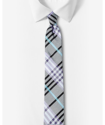 narrow plaid silk tie - bright purple