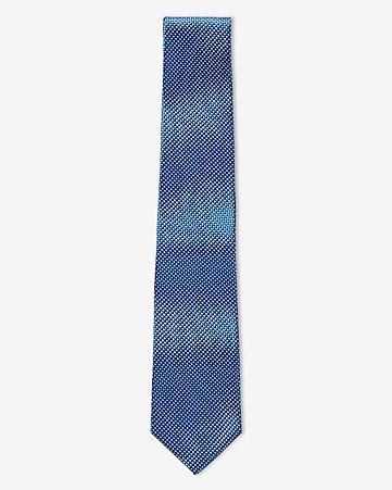 ink blue slim micro print silk tie