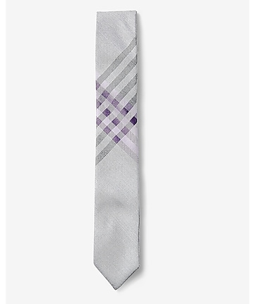 purple reversible skinny silk blend tie