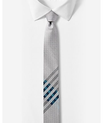 skinny silk blend tie - placed check - turquoise