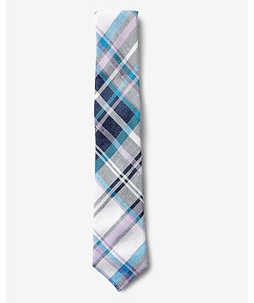narrow plaid linen-cotton tie