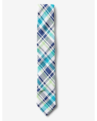 Express Mens Narrow Blue And Green Plaid Linen-Cotton Tie