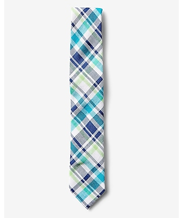 narrow blue and green plaid linen-cotton tie