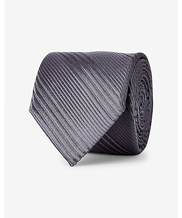 narrow textured diagonal stripe silk tie - gray