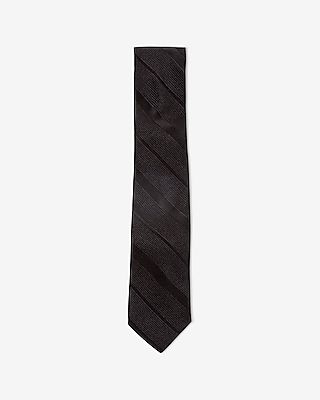 Express Mens Slim Textured Diagonal Stripe Silk Tie Black