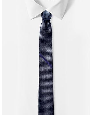 reversible slim silk tie - cobalt blue