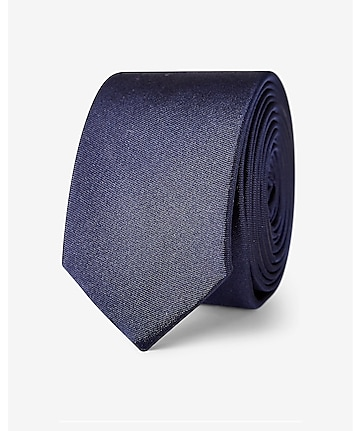 tall skinny solid silk tie - blue