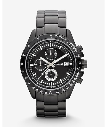 chronograph bracelet watch - black