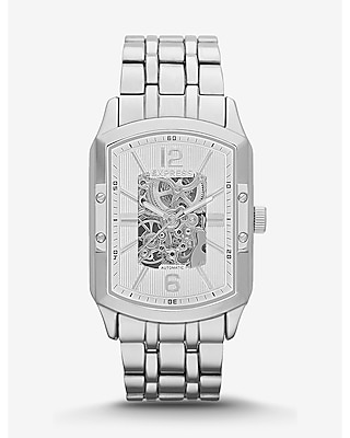 SELF-WINDING SKELETON BRACELET WATCH - SILVER