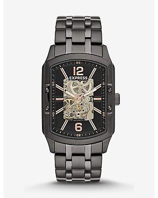 Express Mens Automatic Skeleton Bracelet Watch - Black