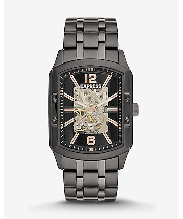 self-winding skeleton bracelet watch - black
