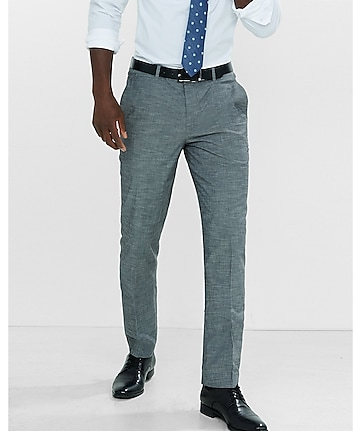 slim photographer gray slub dress pant