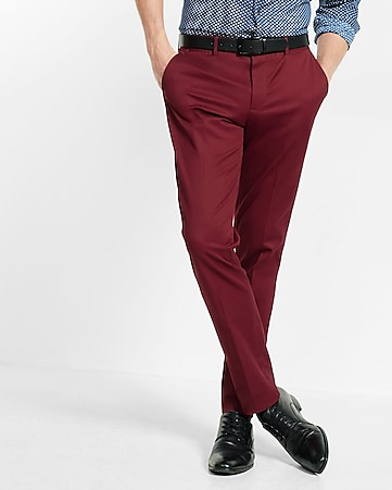 skinny innovator burgundy stretch dress pant