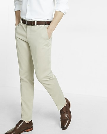 skinny innovator khaki cotton dress pant
