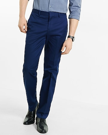 slim photographer blue stretch cotton dress pant